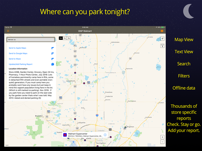 Overnight Parking Wal mart iPhone iPad Application - AllStays